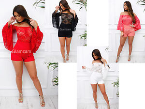 Glamzam-New-Womens-Ladies-Lace-Bardot-Off-Shoulder-Bell-Sleeve-Mini-Playsuit