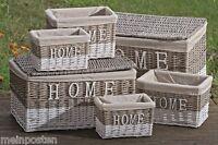 Korb Truhe Home Weidenkorb Weidentruhe Creme Weiß Weide Stoff In 4 Größen S-xxl