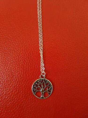 """Árbol de la vida de plata encanto collar colgante 18/"""" Cadena Gratis Reino Unido Vendedor"""
