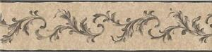 Wallpaper-Border-Small-Acanthus-Leaf-Black-Scroll-on-Faux-Beige-Linen-Background
