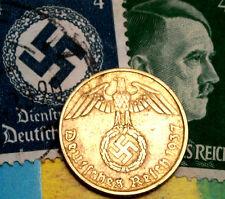 XX-RARE 1937-A WW2 NAZI German 5 Reichspfennig Coin/Swastika & Hitler Stamp LOT