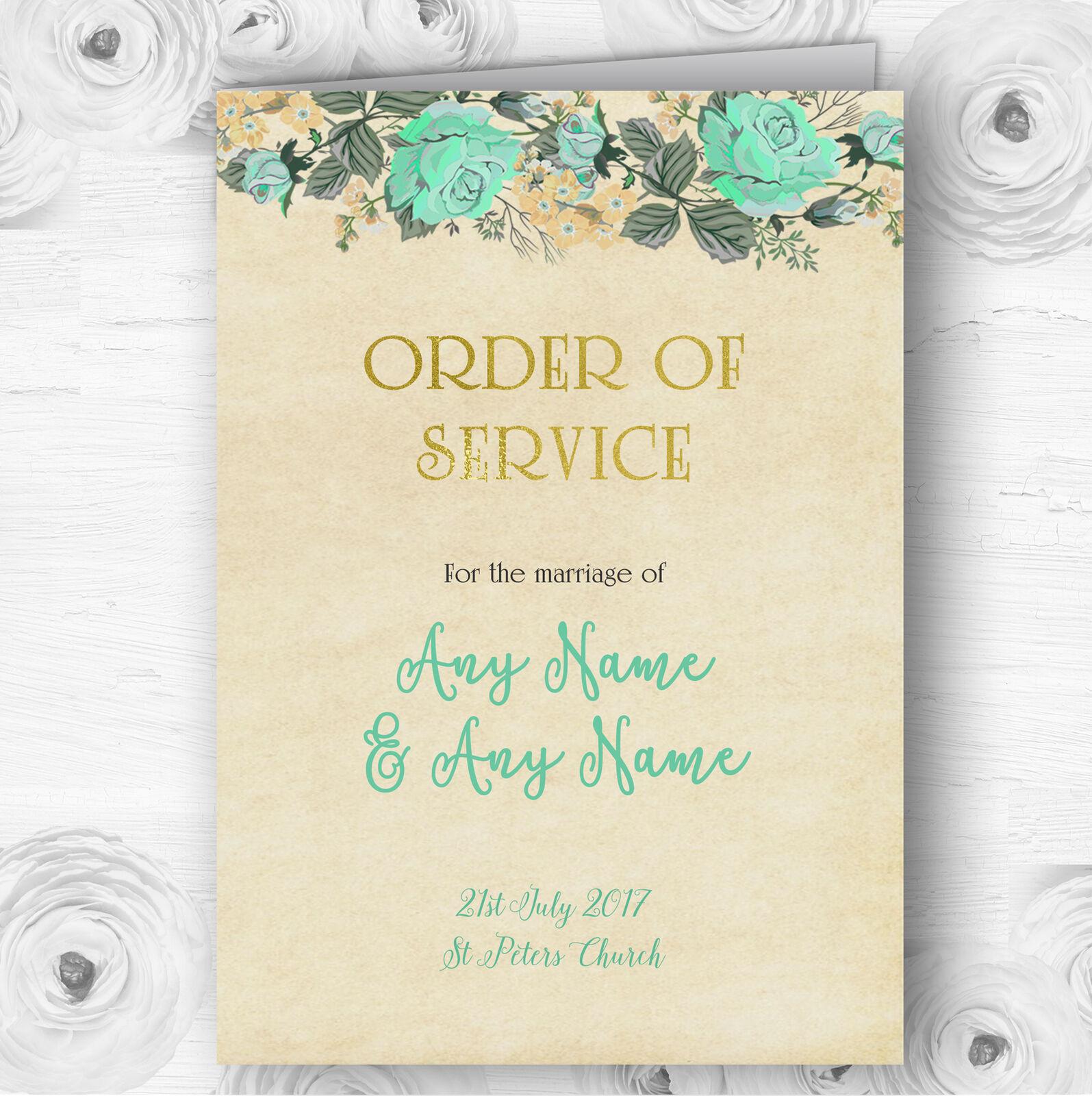 Vintage Mint Grün & Gold Watercolour Wedding Double Cover Order Of Service