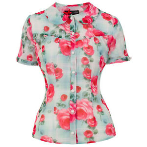 Hell-Bunny-Suzannah-Rose-Floral-Carreaux-Vintage-Rockabilly-Pinup-1950-S-Chemisier-Top