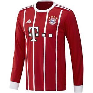 adidas Bayern Munich 2017 - 2018 L S Home Soccer Jersey Brand New ... b45610bfe