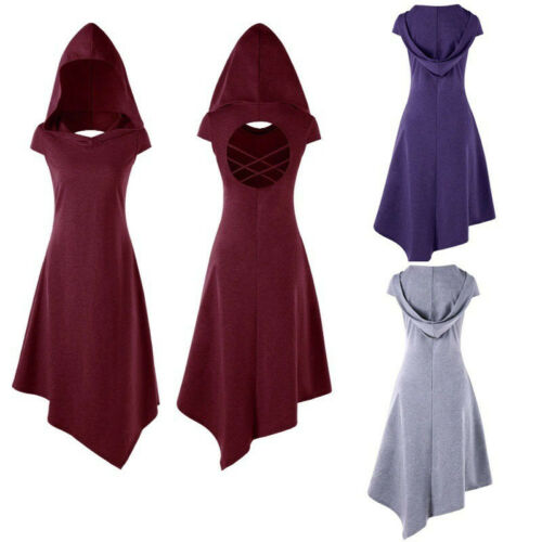 Frauen Kleid Gothic Cosplay Kapuzenkleid Steampunk Hexe Zurück Hohl Kleid NEU