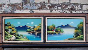 2-Antique-Vintage-Mid-Century-Modern-Watercolor-Landscape-Paintings-Frames-Japan