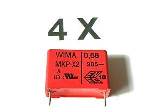 MKP-X2,10/% 305V~ RM22,5 WIMA 4 Stück 680nF Funk-Entstörkondensatoren 0,68uF