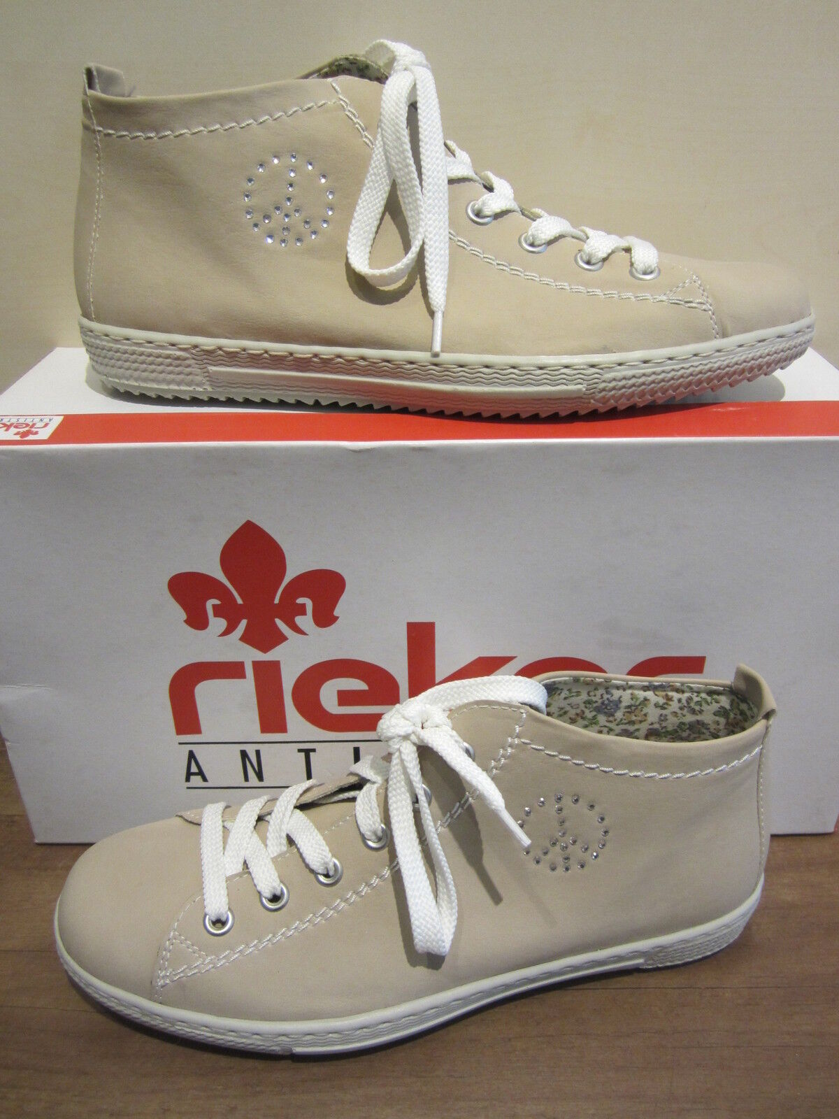 Rieker Boots, Lace Up, Boots, Beige, Sand Fabric Lining, NEW