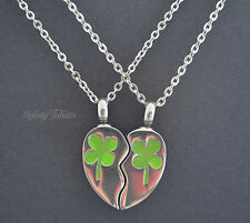 Twin/Couple Set - Clover Shamrock Keepsake Necklace -Cremation Urn Ashes Pendant