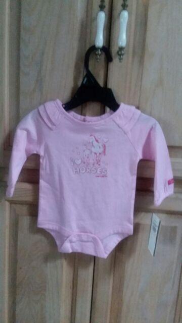 New Carhartt Horses Baby Girl/'s 3 Months Long Sleeve Bodysuit Shirt Cute !CA9351