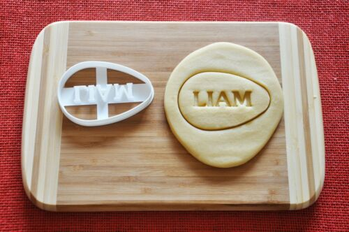CUSTOM Personalized Egg shaped Cookie Cutter Biscuit Stamp Cake Topper Fondant