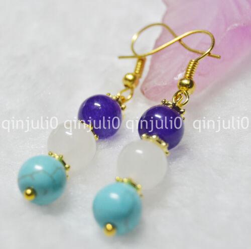 8mm Multicolor Gemstone Earrings Amethyst White jade Turquoise GEMS GLOD JE75