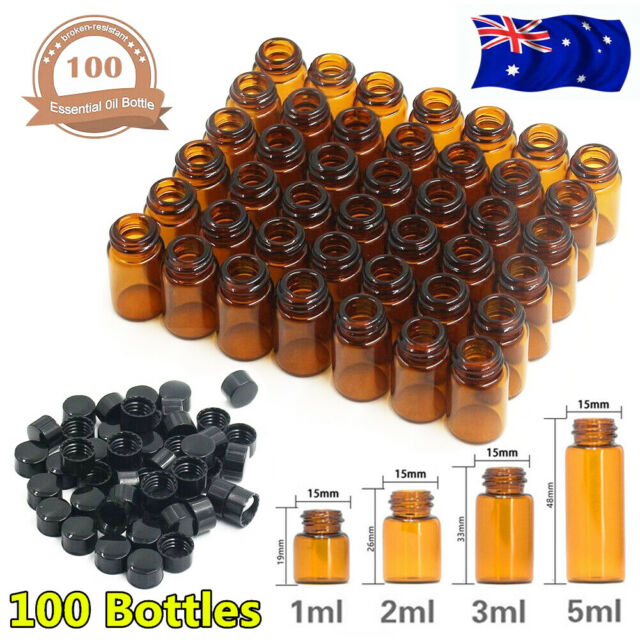 50/100PCS 1ml - 5ml Amber Glass Dram Bottles Orifice Reducer Vial Essential Oil