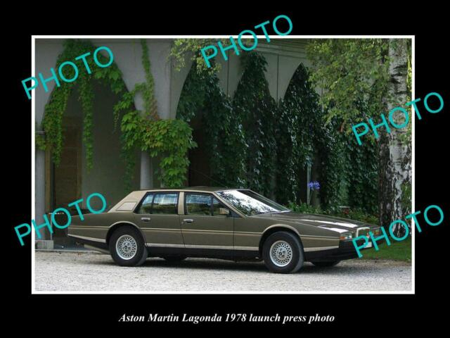 OLD LARGE HISTORIC PHOTO OF ASTON MARTIN LAGONDA 1978 LAUNCH PRESS PHOTO