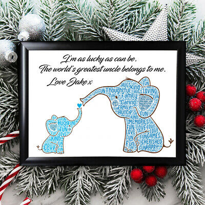 Personalised Uncle Gifts Brother Christmas Father Him Best Framed Card Elephants
