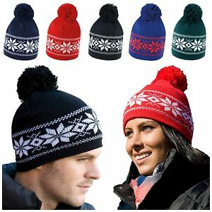 Fair Isle Pattern Bobble Hat Beanie Wooly Winter Mens Ladies Knitted ... 3c6949de96b