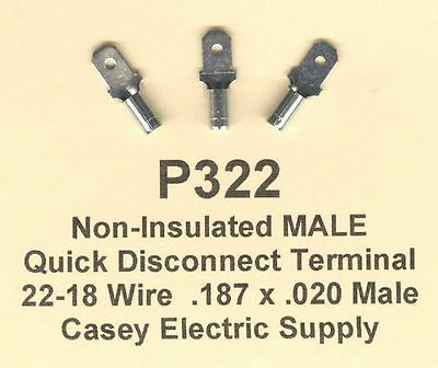 100 22-18 AWG QUICK DISCONNECT NON INSULATED MALE .187 CONNECTOR MADE IN USA