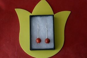 BEAUTIFUL EARRING WITH RED CORAL GEMSTONE 4.4 GR 3.6 CM. LONG + HOOKS IN  BOX