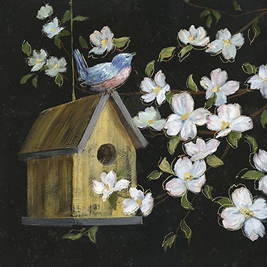 Nan  Evening Song Toîle sur Chassis Image Fleurs Oiseaux Nature Floral