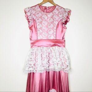1970s vintage pink satin maxi length prairie dress lace