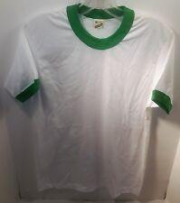 70's Screen Stars Super Thin Green Ringer Blank T-shirt (DEADSTOCK) Size Medium