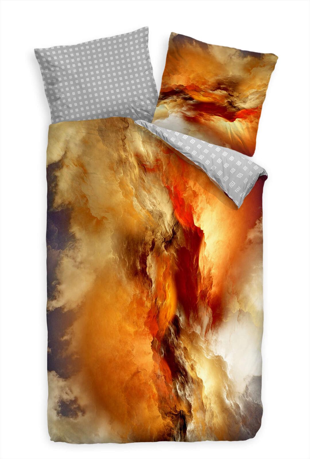 Abstrakt Wolken Kunst Orange  Bettwäsche Set 135x200 cm + 80x80cm  Atmungsaktiv