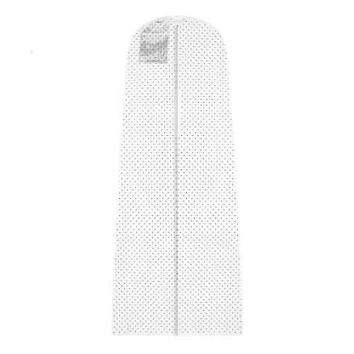 Hoesh White Polka Breathable Long Zipped Bridal Wedding Dress Cover Garment Bags