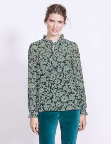 Boden Mm 06 Floral Uk Sleeve Long 10 Maddie Size Top Td093 BrxHUAB