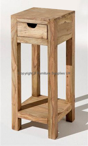ZEN JALI SHEESHAM 30X30X60H SIDE TABLE PLANT STAND REAL WOOD FURNITURE