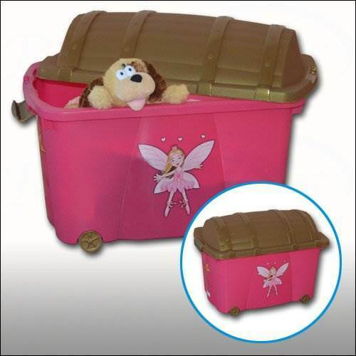 60cm Pink Plastic Treasure Toy Box Kids Plastic Wheels Storage Box Toy Chest