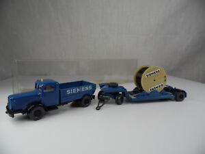 Sw1831-Wiking-siemens-werbemodell-Bussing-8000-tiefladezug-amp-kabelt-box-Mint