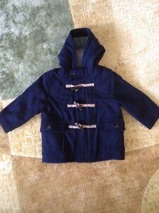 c71750eda8678 Baby Gap Toddler Boy Size 12-18 Navy Blue Toggle Wool Coat Jacket ...