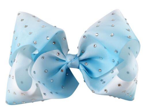 8 Inch Diamante Ombre Hair Bow Alligator Clip Pin Girls