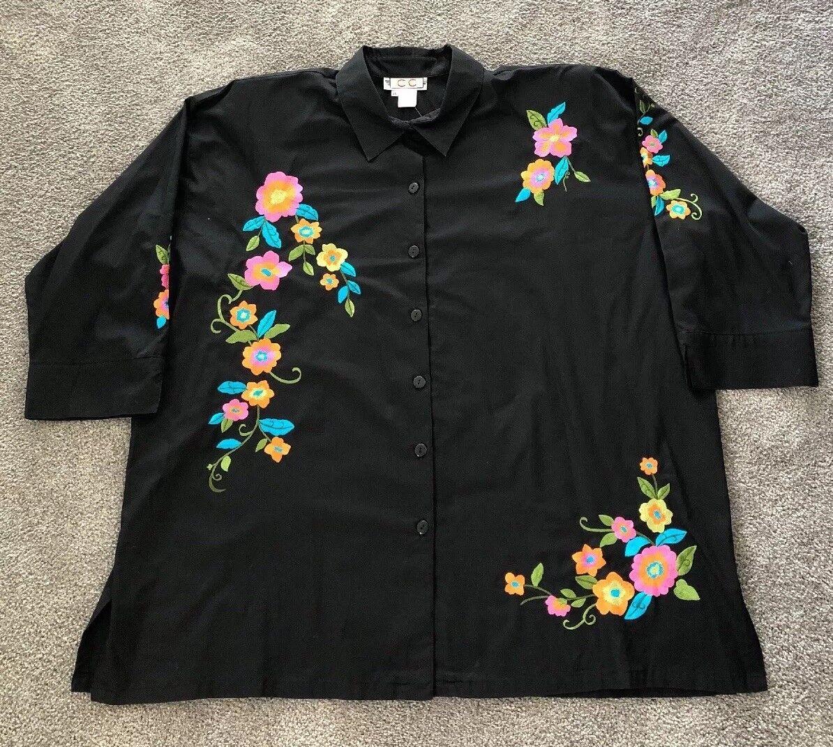 CC Sportswear Sz 1X. 3 4 Sleeve schwarz W  Embroiderot Flowers Blouse. NWT. CC538