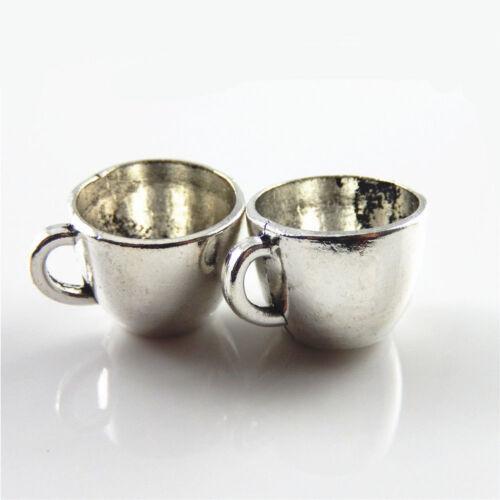 12pcs//lot Vintage Silver Mini Cute Coffee Cup Shape Alloy Charms Pendants Making