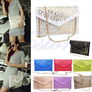Women-Hollow-Flower-Envelope-Clutch-Chain-Shoulder-Bag-Evening-Purse-Handbag-New