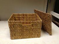 Seagrass Wicker Storage Mail Tray Paper Office Basket Organizer Lego Lid 12x10x8