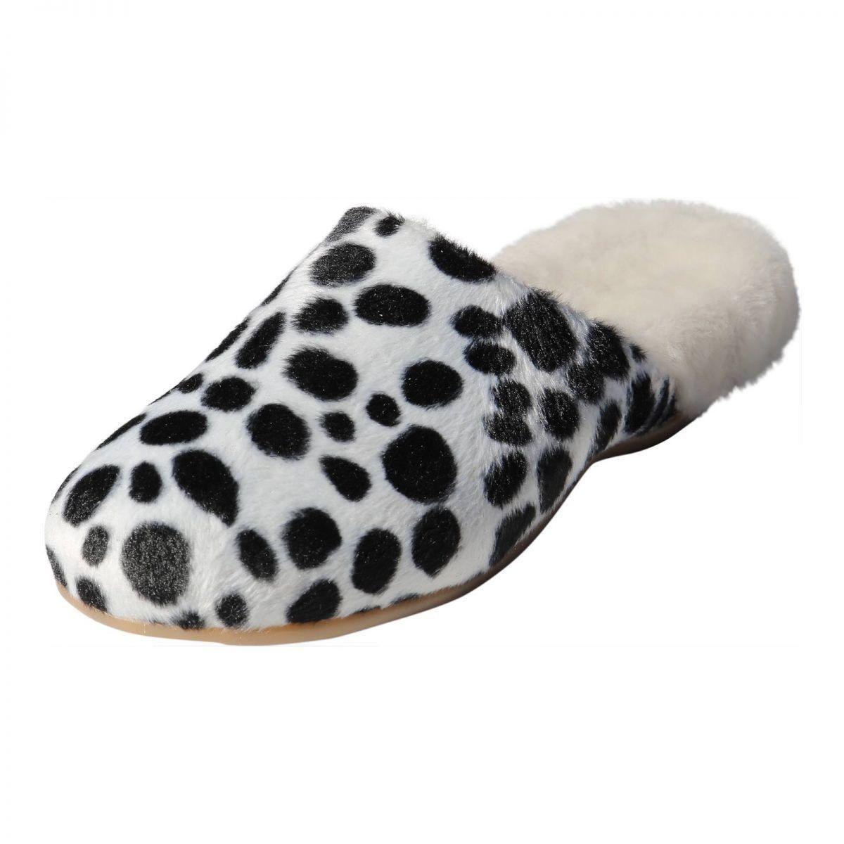 Pantofole in pelle di agnello - biekamp dalmata Donna NERO BIANCO