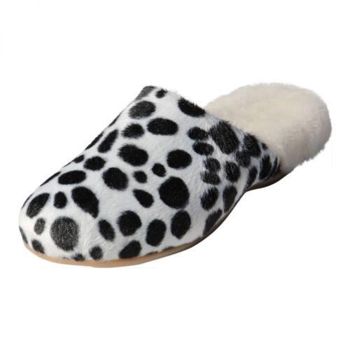 dalmata in bianco di Puschen nero agnelloPantofole donna pelle Pantofole Biekamp ID9EHW2Y