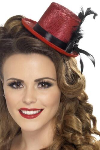 LADIES 20s RED MINI TOP HAT WOMENS 1920s BURLESQUE FASHION FANCY DRESS HEADPIECE