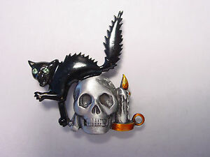 """jj"" Jonette Jewelry Silver Pewter 'black Cat & Skull' Halloween Pin Brillant En Couleur"