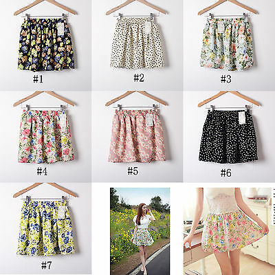 Fashion Women Retro High Waist Pleated Floral Chiffon Cute Mini Short Skirt