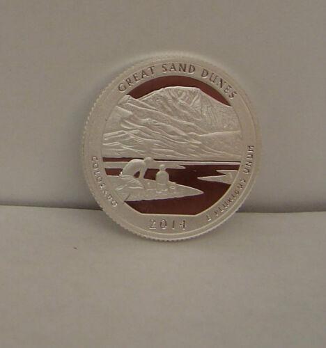 2 COINS = 2014 GREAT SAND DUNES NATIONAL PARK SILVER PROOF QUARTER COLORADO k4
