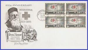 USA3 #1239 U/A ARTMASTER FDC BL4  Red Cross Centennial