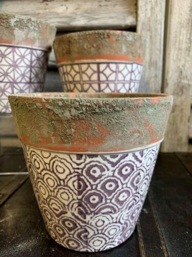 Lavender Ceramic Geometric Terracotta Windowsill Herb Bulb Planter Flower Pots
