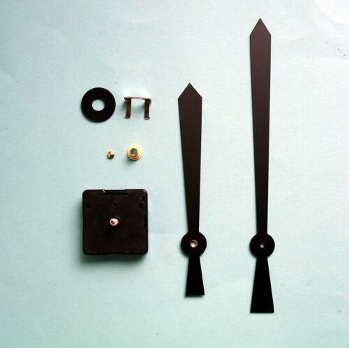 Allemand couple élevé 16 mm arbre Quartz Horloge Mouvement Kit 200 mm Black Kite Mains