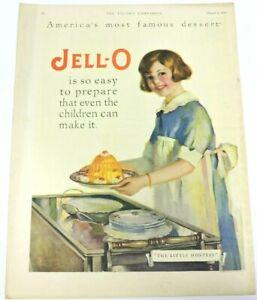 Jell-O the Little Hostess 1926 Vintage Ad Dessert Girl Apron Server Dishes Kodak