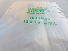 "ZIPLOCK BAGS 12x15 CLEAR 4 MIL 100pcs RECLOSABLE ZIP LOCK LARGE BAG 12""x15"" 4mil"