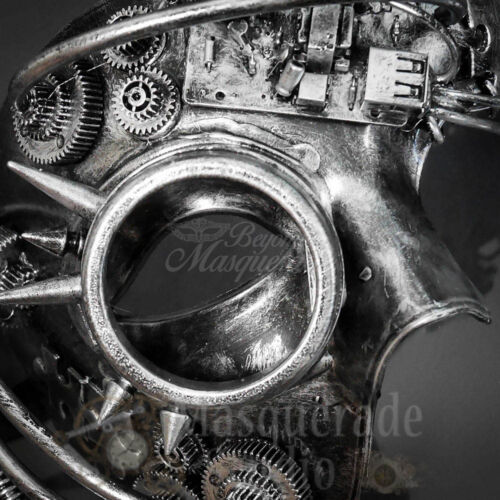 Mens Steampunk Mad Scientist Phantom Costume Halloween Masquerade Mask Silver