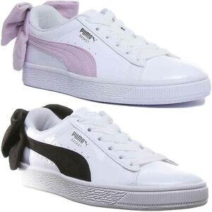 Duplicación Inconsistente Cerdo  Puma Cesta Lazo Mujer sin Cordones Zapatillas En Blanco/Blanco Negro Talla  UK | eBay